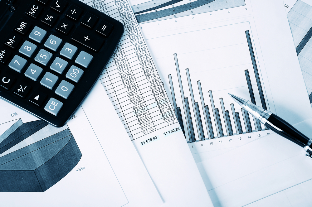 Business  and the financial reports. A workplace of the businessman.