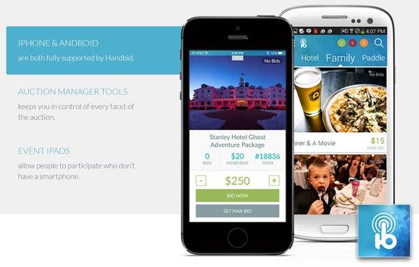 Handbid mobile bidding & ticketing software