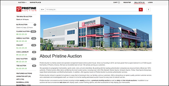 Explore Pristine Auction's website and see what makes them the top online sports authenticated memorabilia for Nonprofit Auction Software.