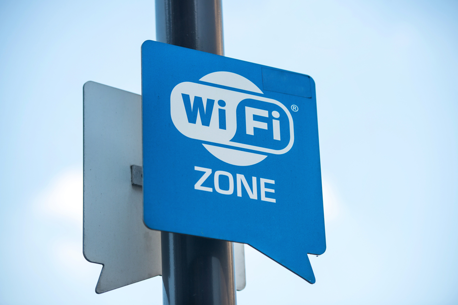 Wireless internet sign on pole on the street-1