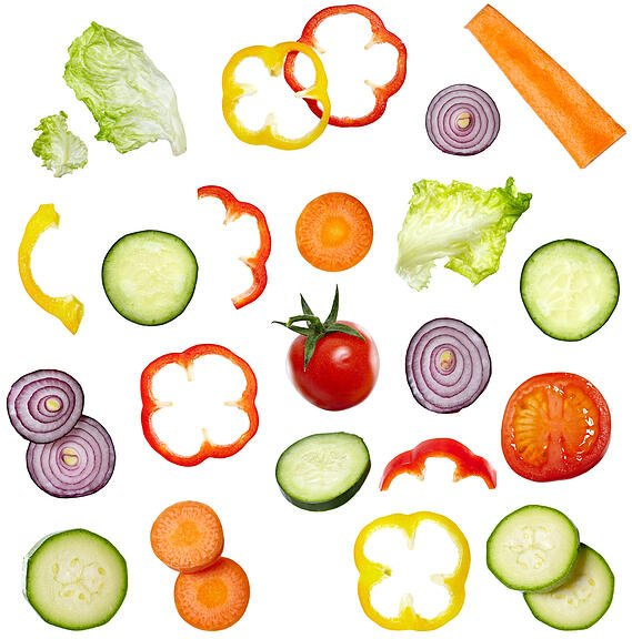 collection of vegetables on white background