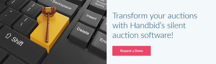 Transform your auction with Handbid's silent auction software! Request a demo.